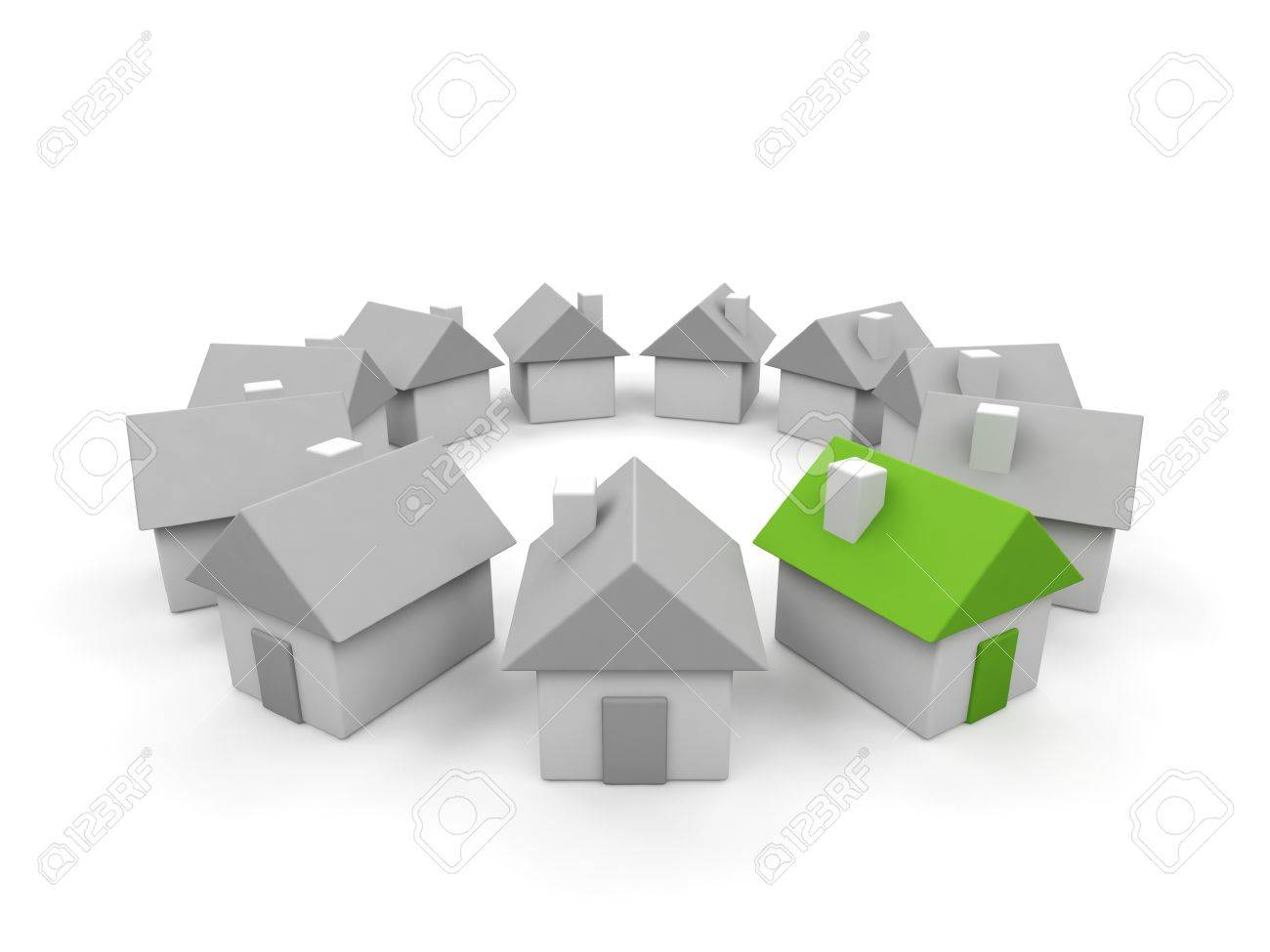 Houses - 3d render illustration on white background. Stock Illustration - 15563618