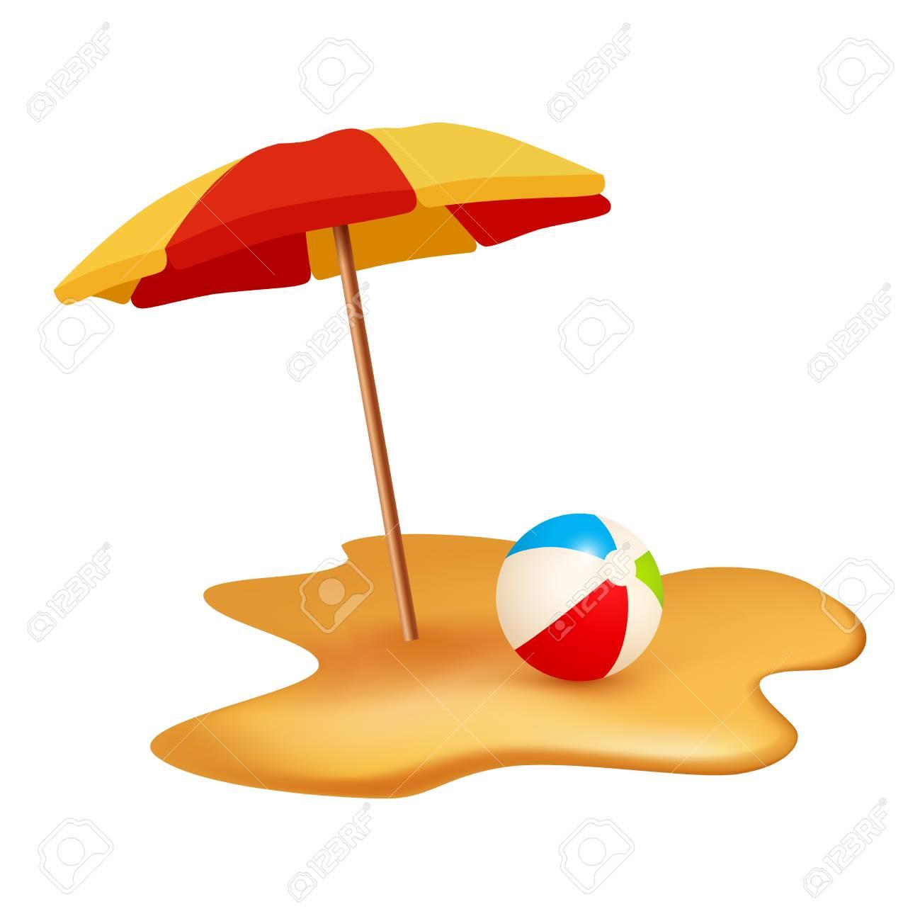 Summer Holidays Objects Beach Ball And Umbrella Vector