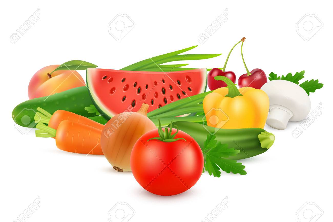 Fresh Vegetables and Fruits Healthy Food. Vector image - 81789192