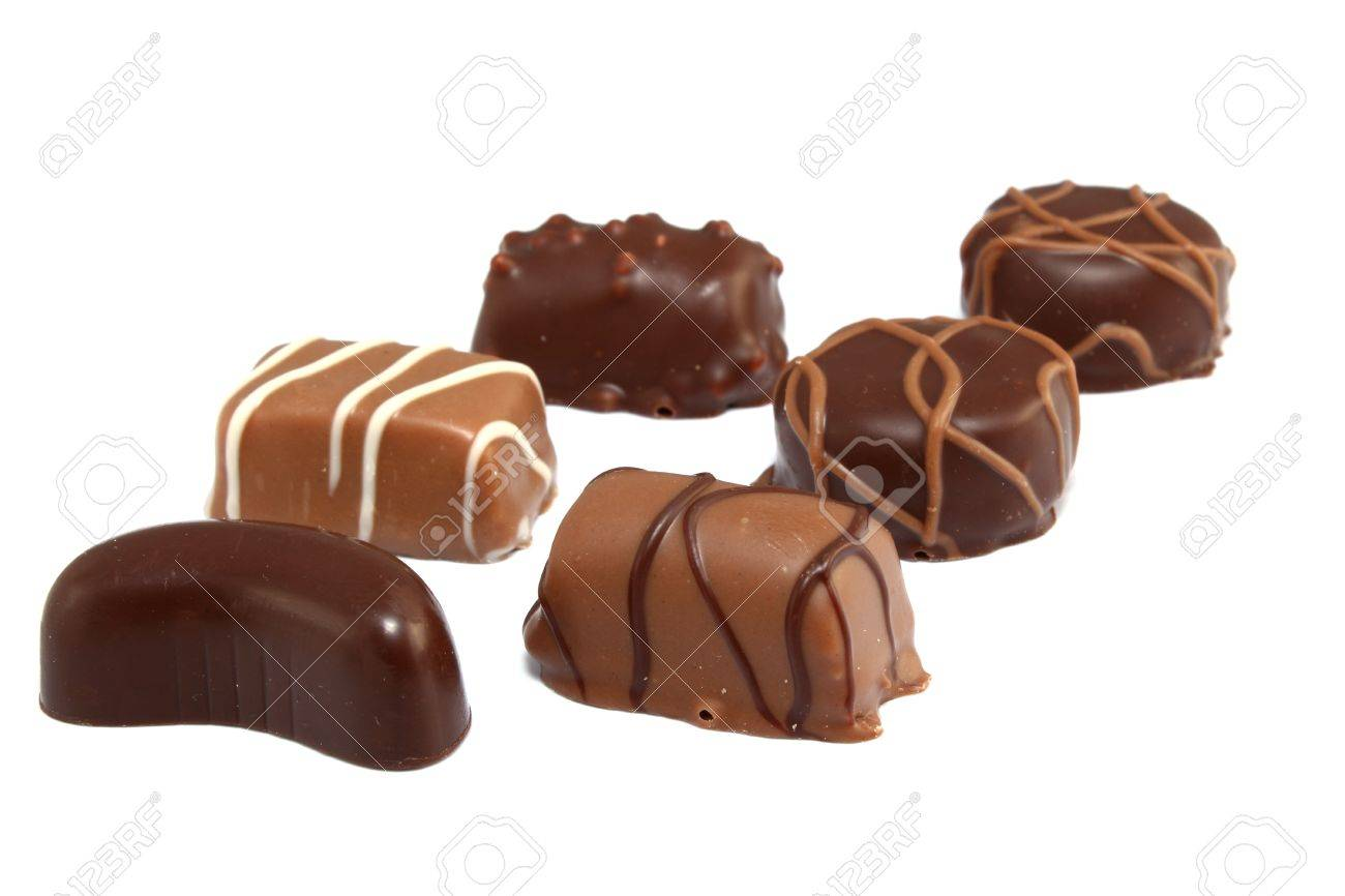 Six Different Types Of Chocolate Candies Isolated On White Stock ...