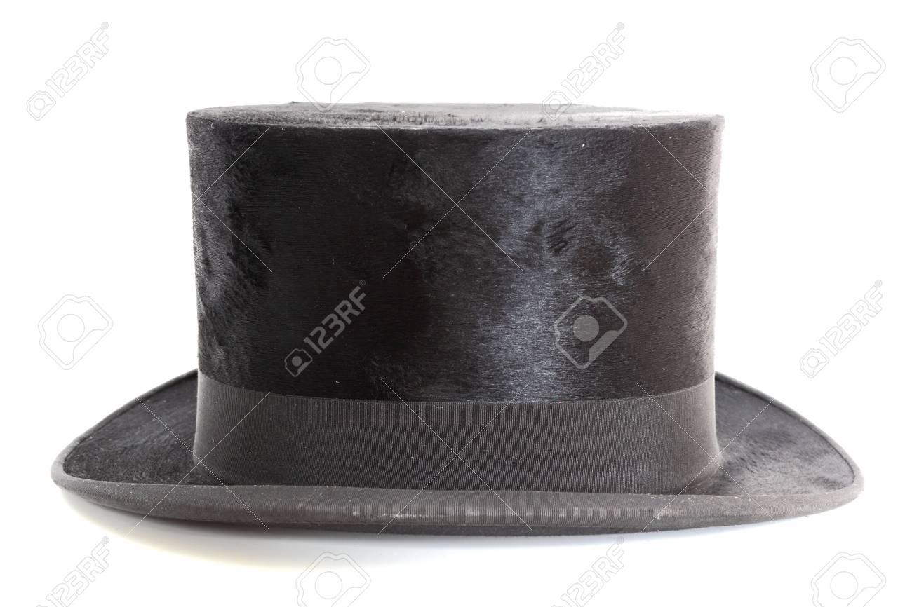 old black elegant topper hat over white background Stock Photo - 14663226 e1aff42ed641