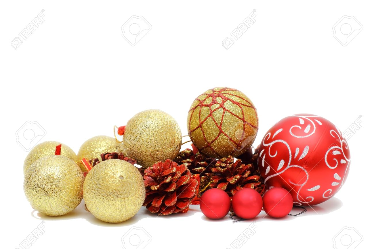 a23847b3ca38 red and gold christmas baubles and pine cones isolated over white  background Stock Photo - 16526397