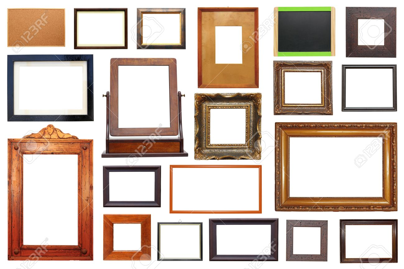 Large Collection Of Different Types Of Wooden Frames Isolated ...
