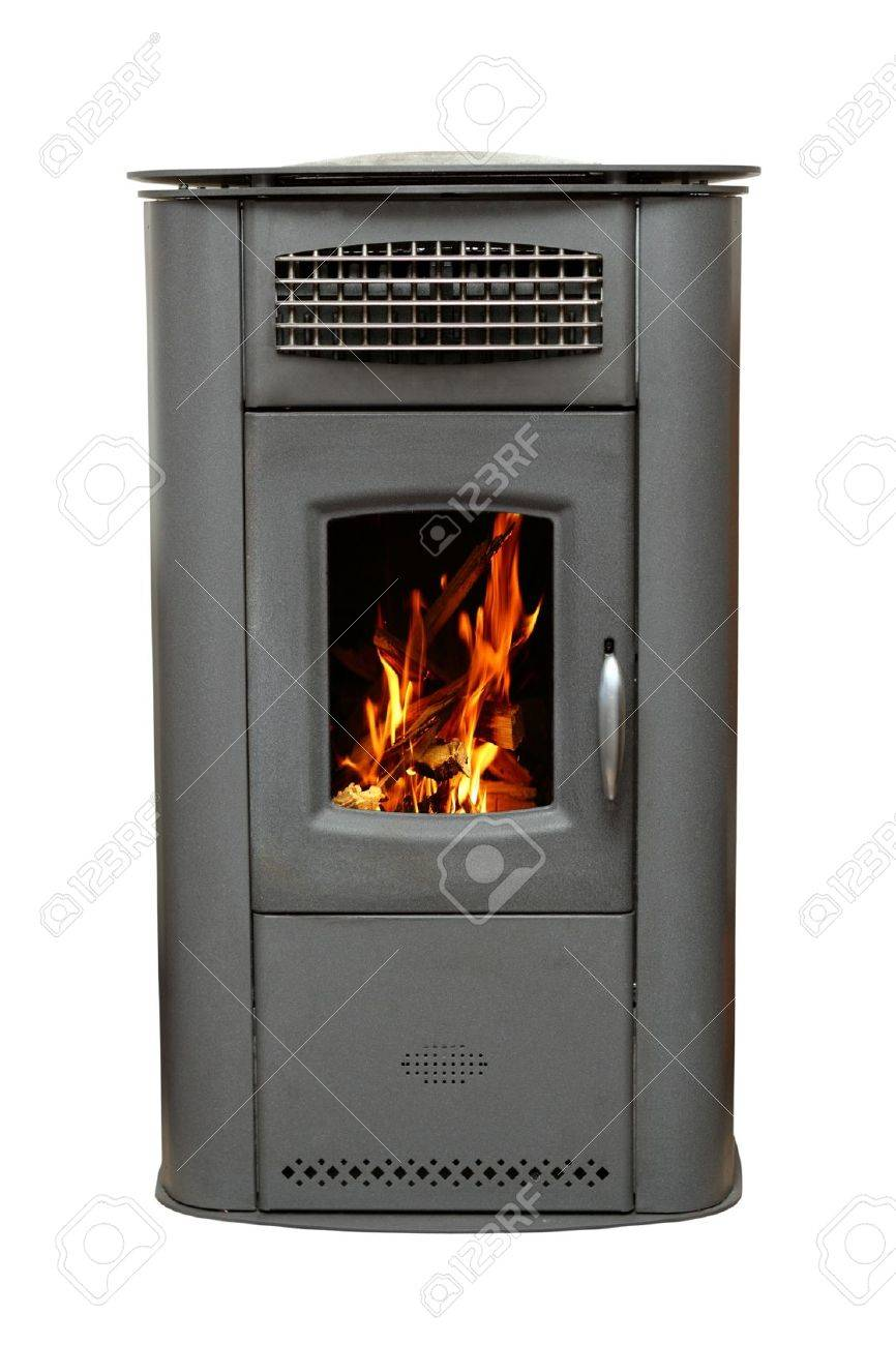 iron stove with burning wood fire isolated over white background Stock Photo - 20230860