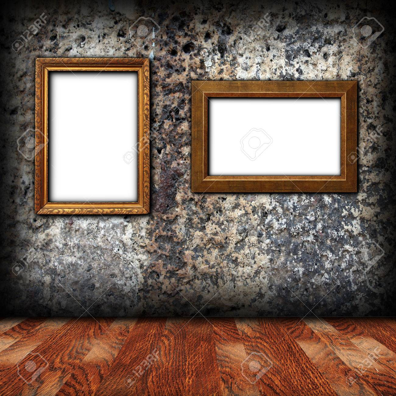 stock photo two wooden empty frames on weathered wall for design