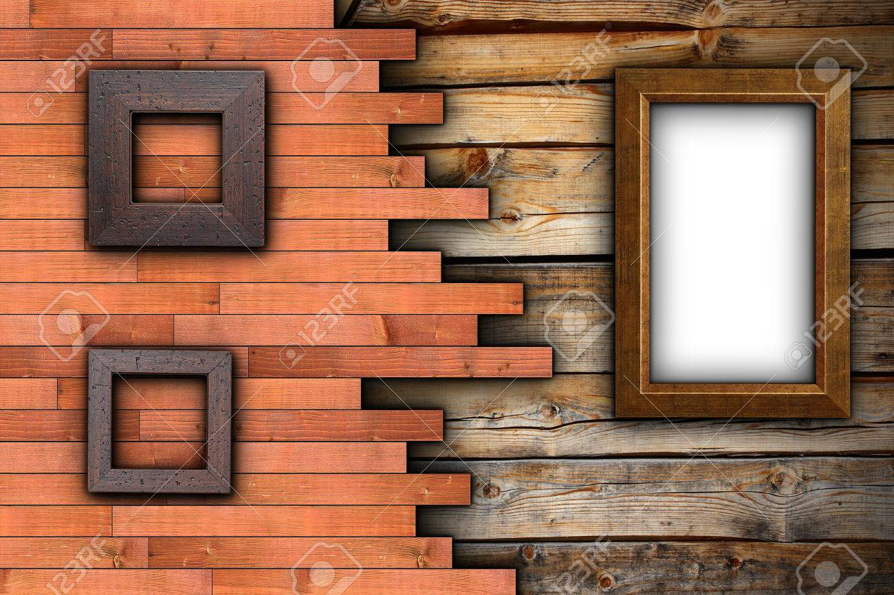 stock photo abstract wood backdrop with empty frames on wall ready for your design or advertising
