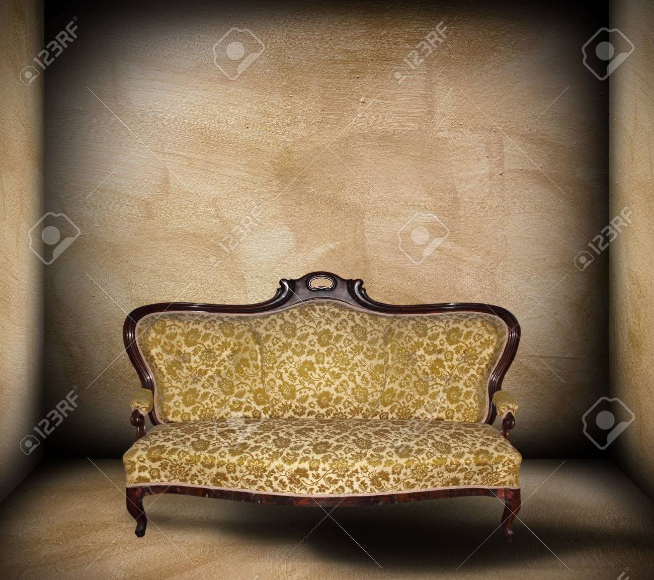 Beautiful Sofa In Minimalist Empty Room Backdrop Ready For Your Design Stock Photo