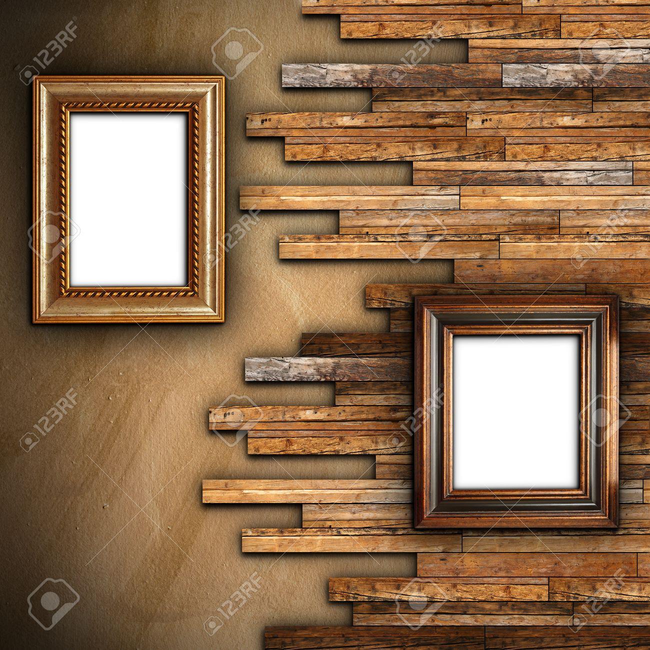 Abstrakte Wand Mit Gips Und Holz Finishing Mit Zwei Schönen ...