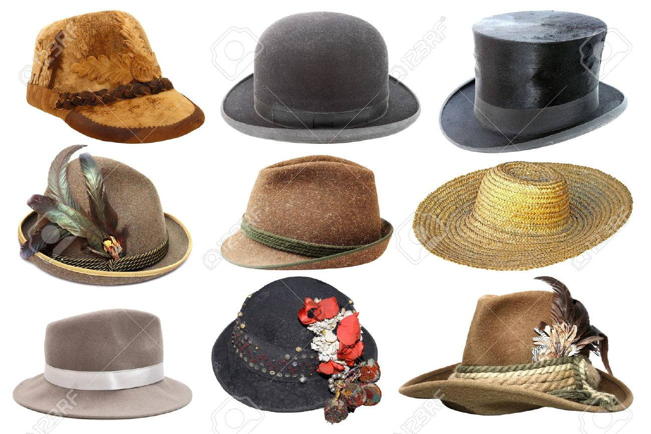 collage with different hats isolated over white background Stock Photo -  44510712 39f55fbe2482