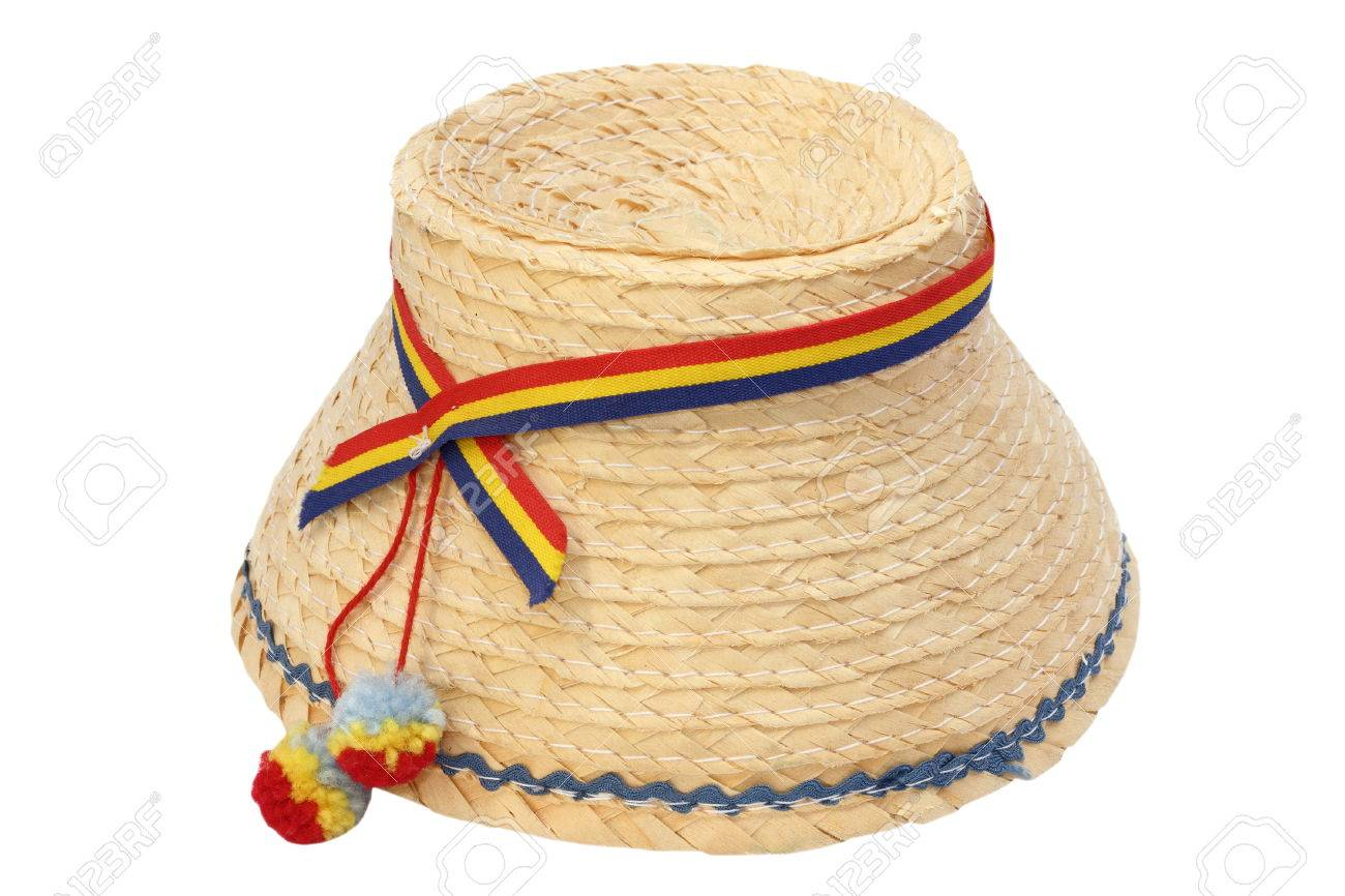 Romanian Embroidery: Romanian Traditional Straw Hat Isolated Over White  Background