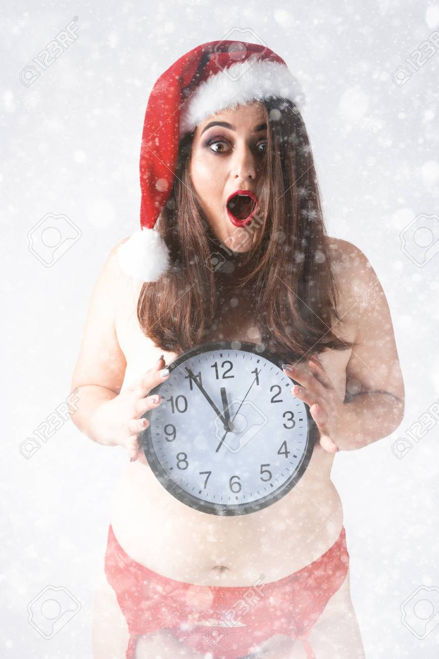 Christmas New Year Concept Countdown To Midnight Model Xxl In Panties With Clock Fat