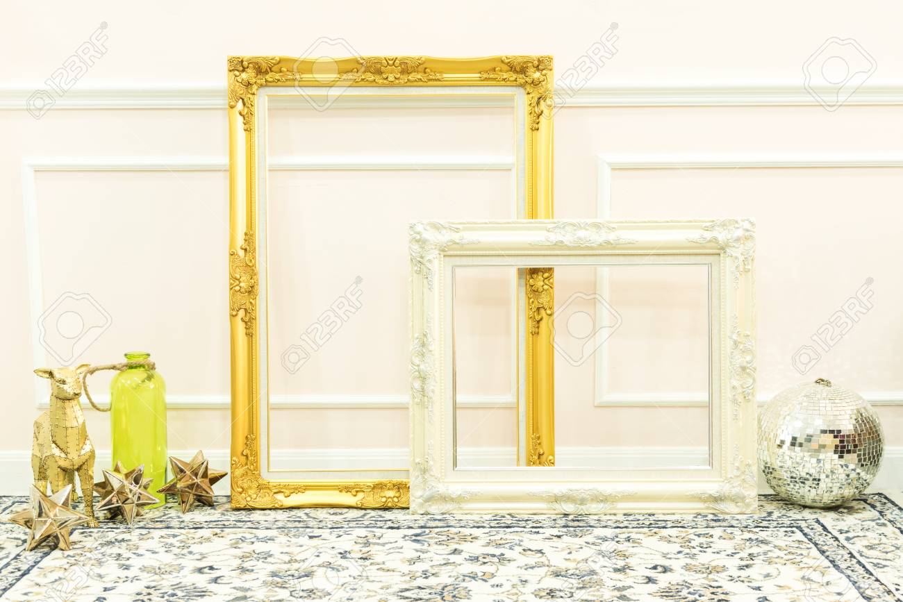 Vintage Blank Golden And White Wooden Frames And Decorative Things ...