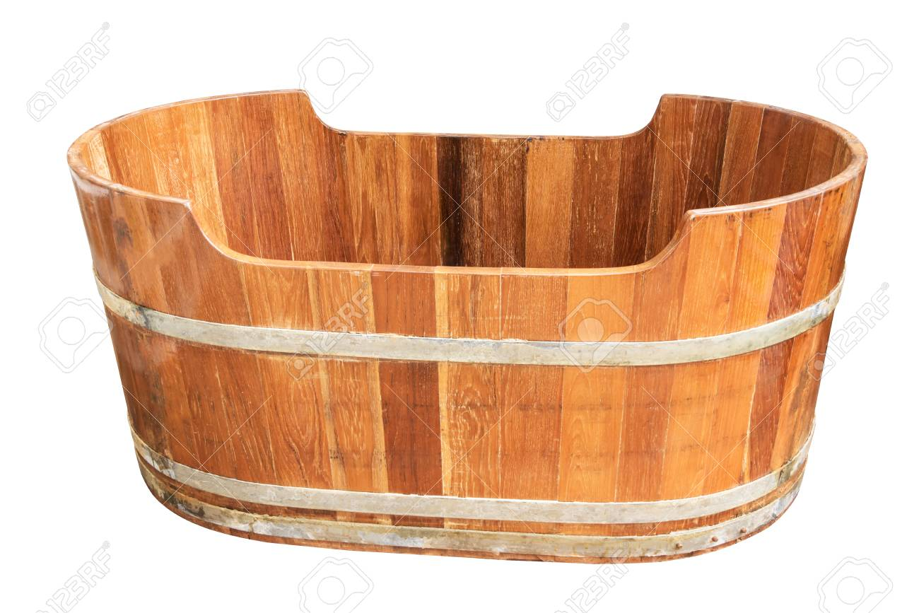 Empty Vintage Wooden Bathtub Isolated On White Background Stock Photo Picture And Royalty Free Image Image 95574212