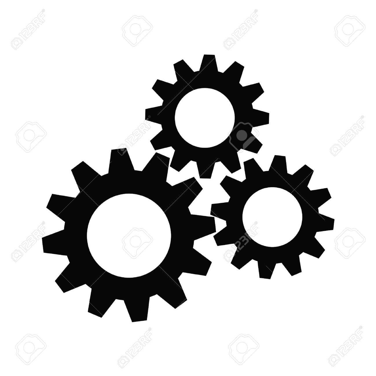 gear collection set of gear wheels black cogs on white background