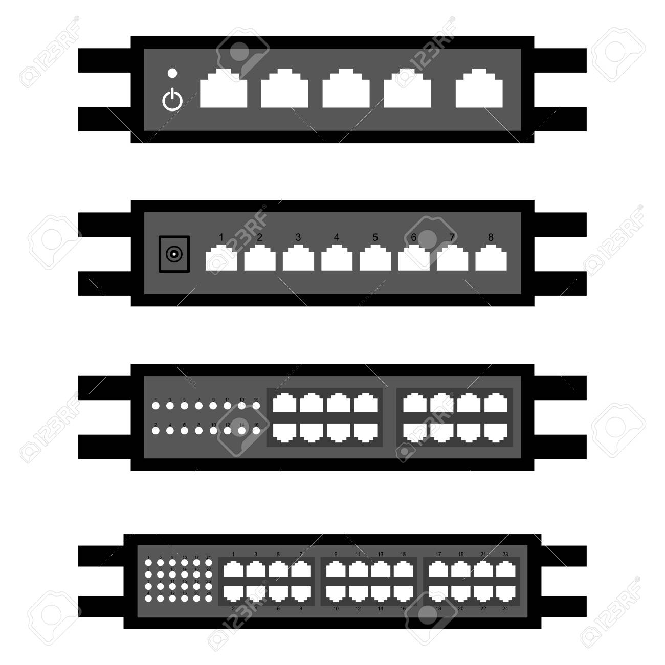 vector of Network switch or router icon set