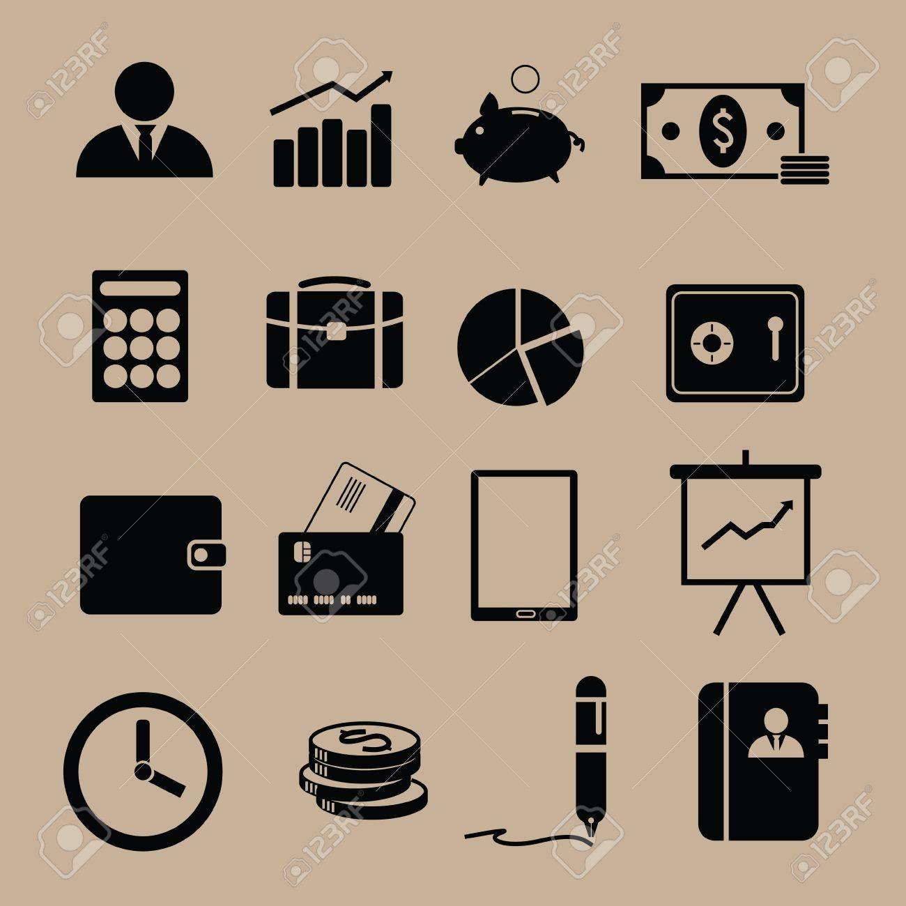 Monotone finance icons in black Stock Vector - 19196506