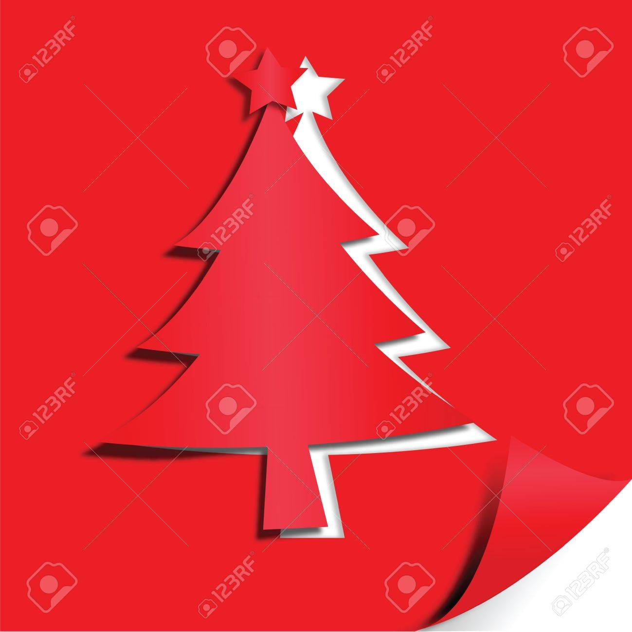 Christmas Tree Paper Craft Art Work Royalty Free Cliparts Vectors