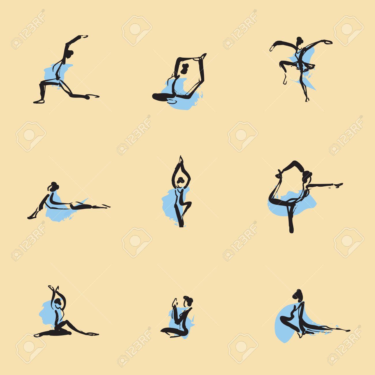 Yoga Chinese brush icon drawing set Stock Vector - 23306130