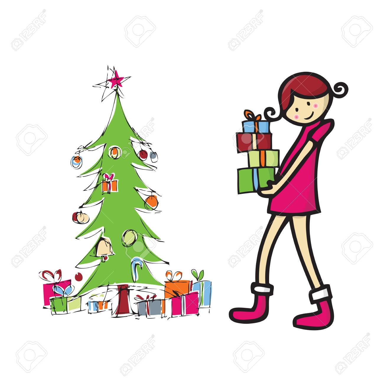 Tall Christmas Tree Cartoon.Tall Girl Holding Boxes Of Present In Front Of Christmas Tree
