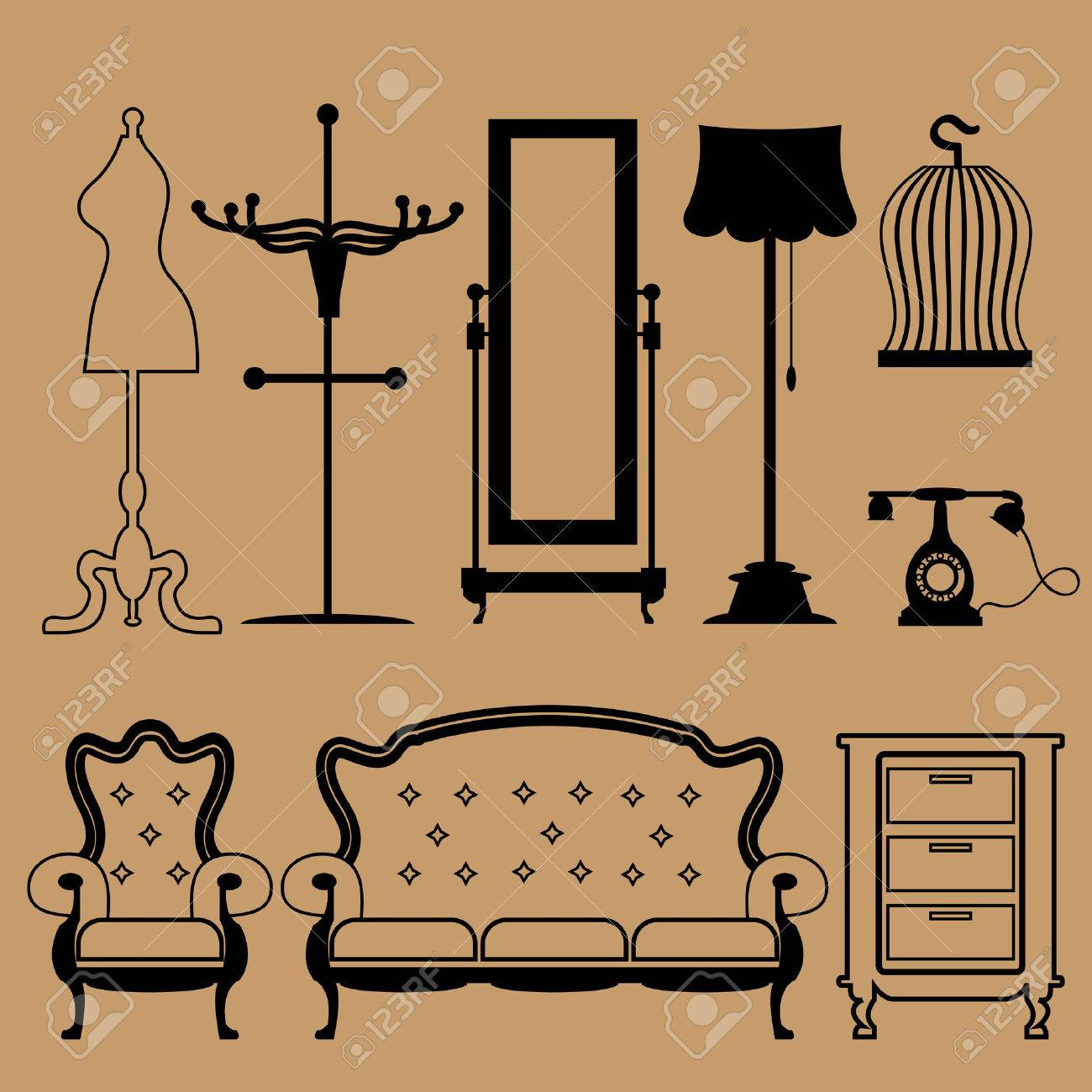 Living Room Vintage Accessories Icons Set Stock Vector