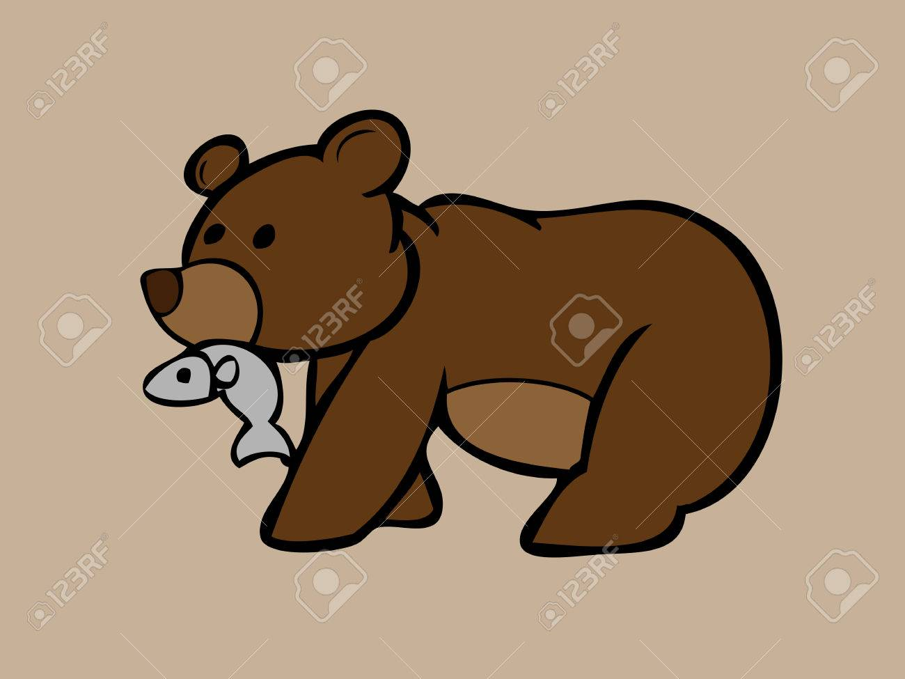 Brown Bear Catching Fish In Mouth Royalty Free Cliparts Vectors