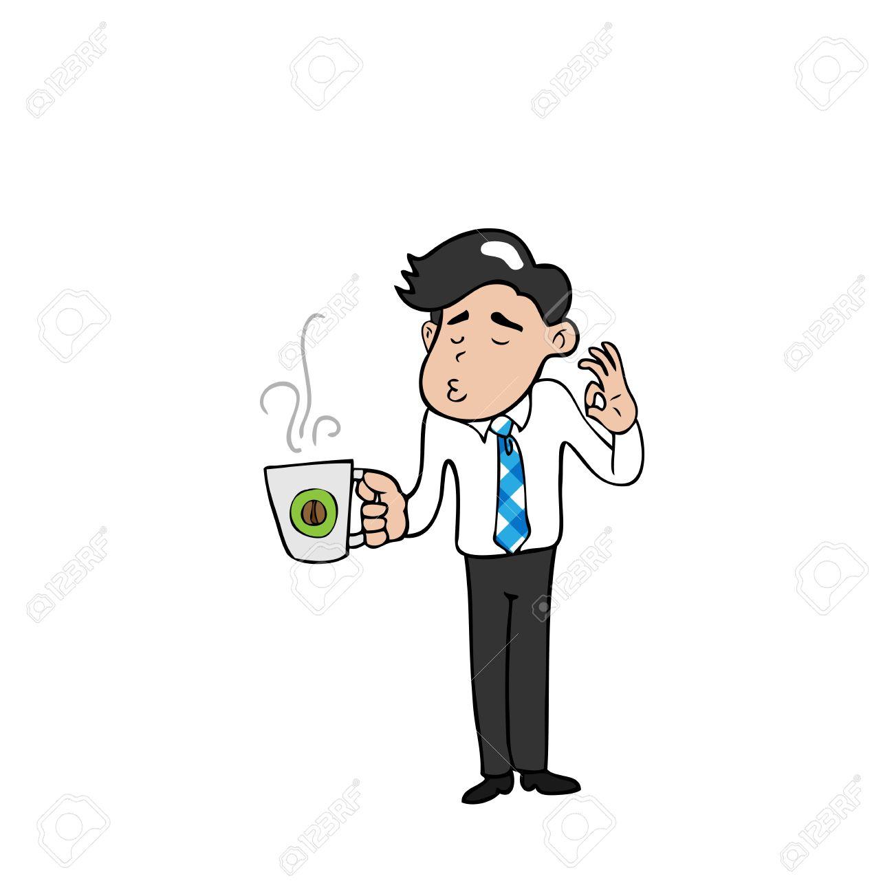 Hombre De Negocios Y Descanso Para Tomar Café De Dibujos Animados De  Vectores Ilustraciones Vectoriales, Clip Art Vectorizado Libre De Derechos.  Image 33119442.