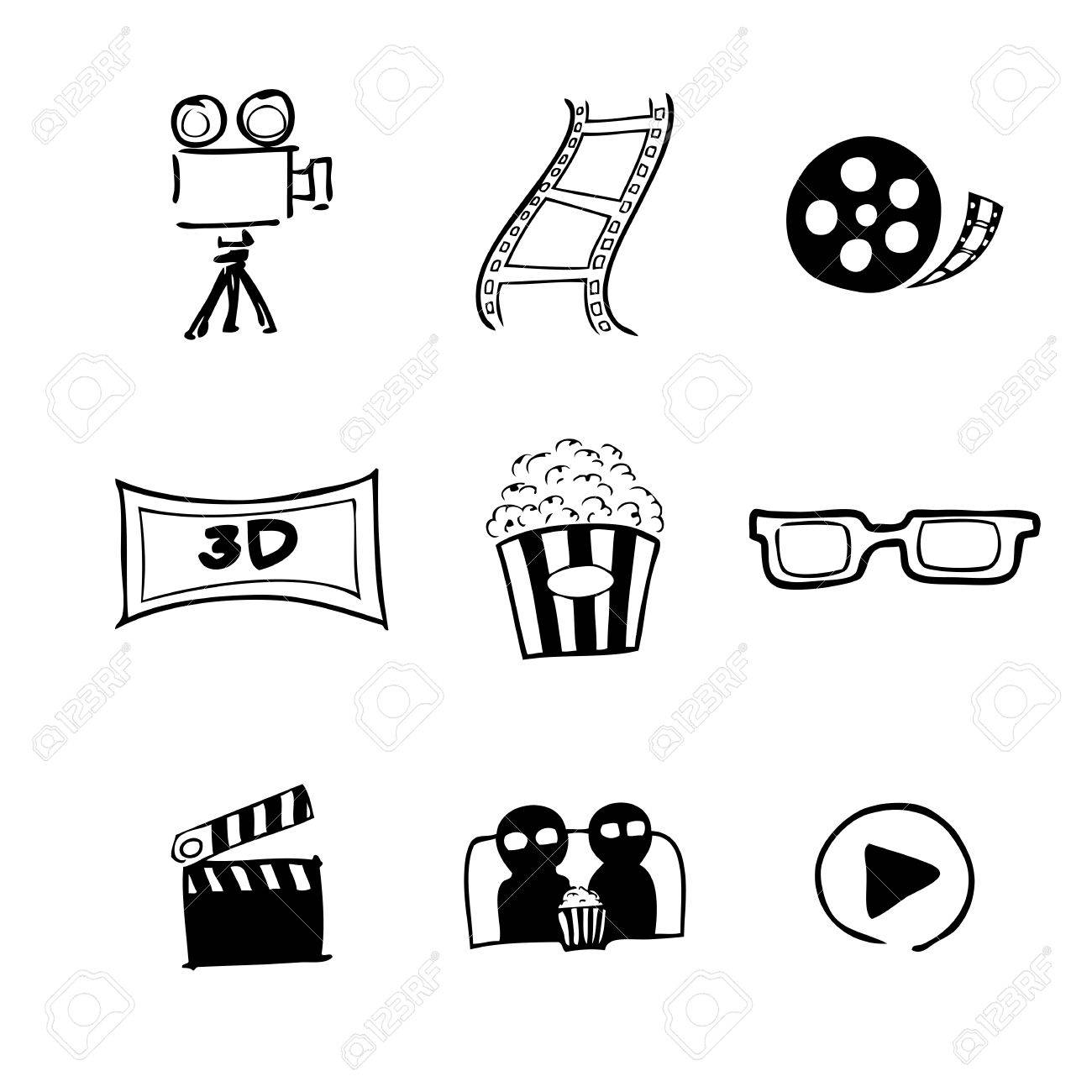 movie cinema icons chinese brush drawing royalty free cliparts
