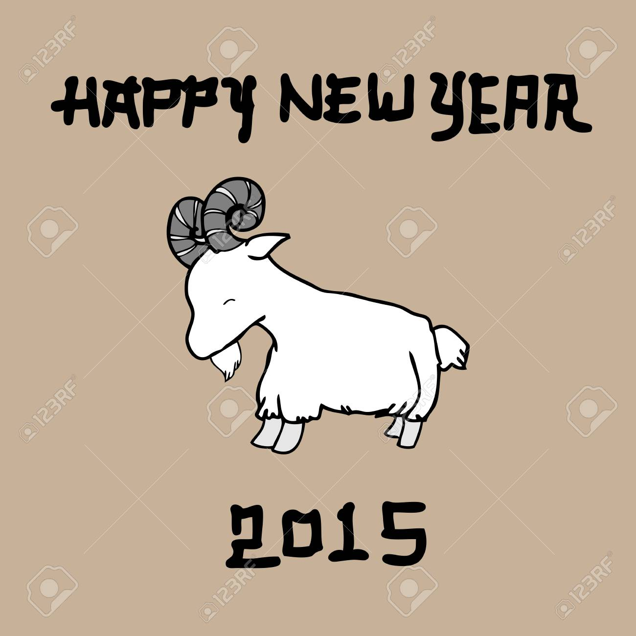 goat happy new year 2015 chinese brush drawing stock vector 34568161