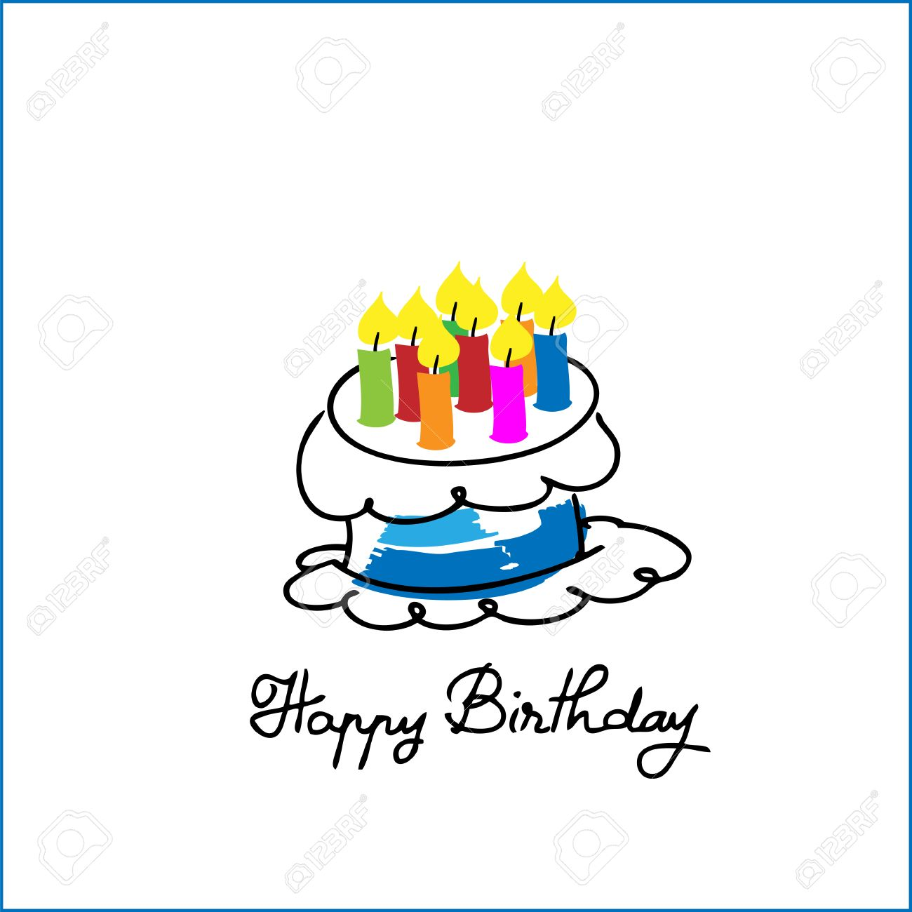 Birthday Cake Cartoon Drawing Vector Royalty Free Cliparts Vectors And Stock Illustration Image 34727025