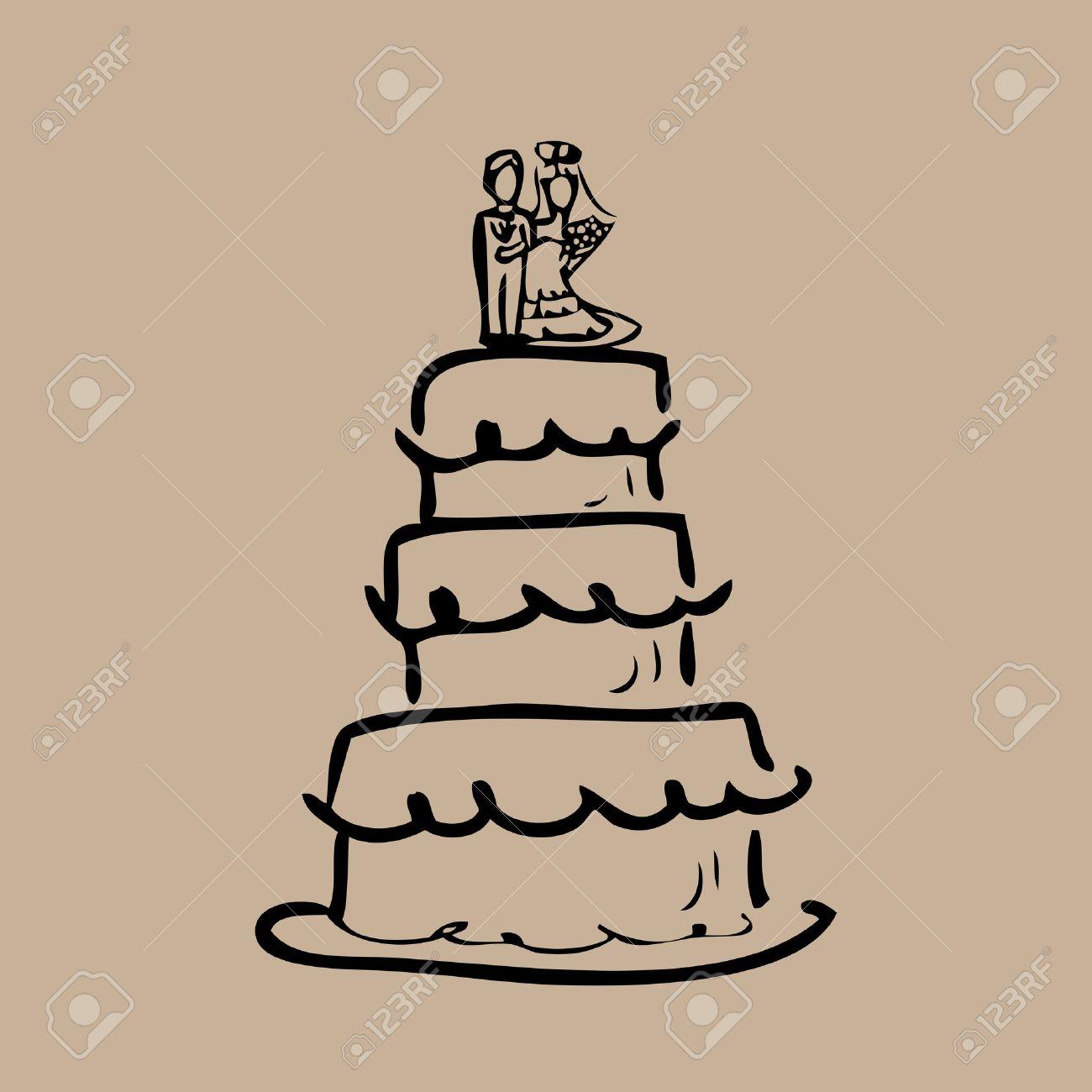 Hochzeitstorte Braut Und Brautigam Cartoon Vektor Lizenzfrei