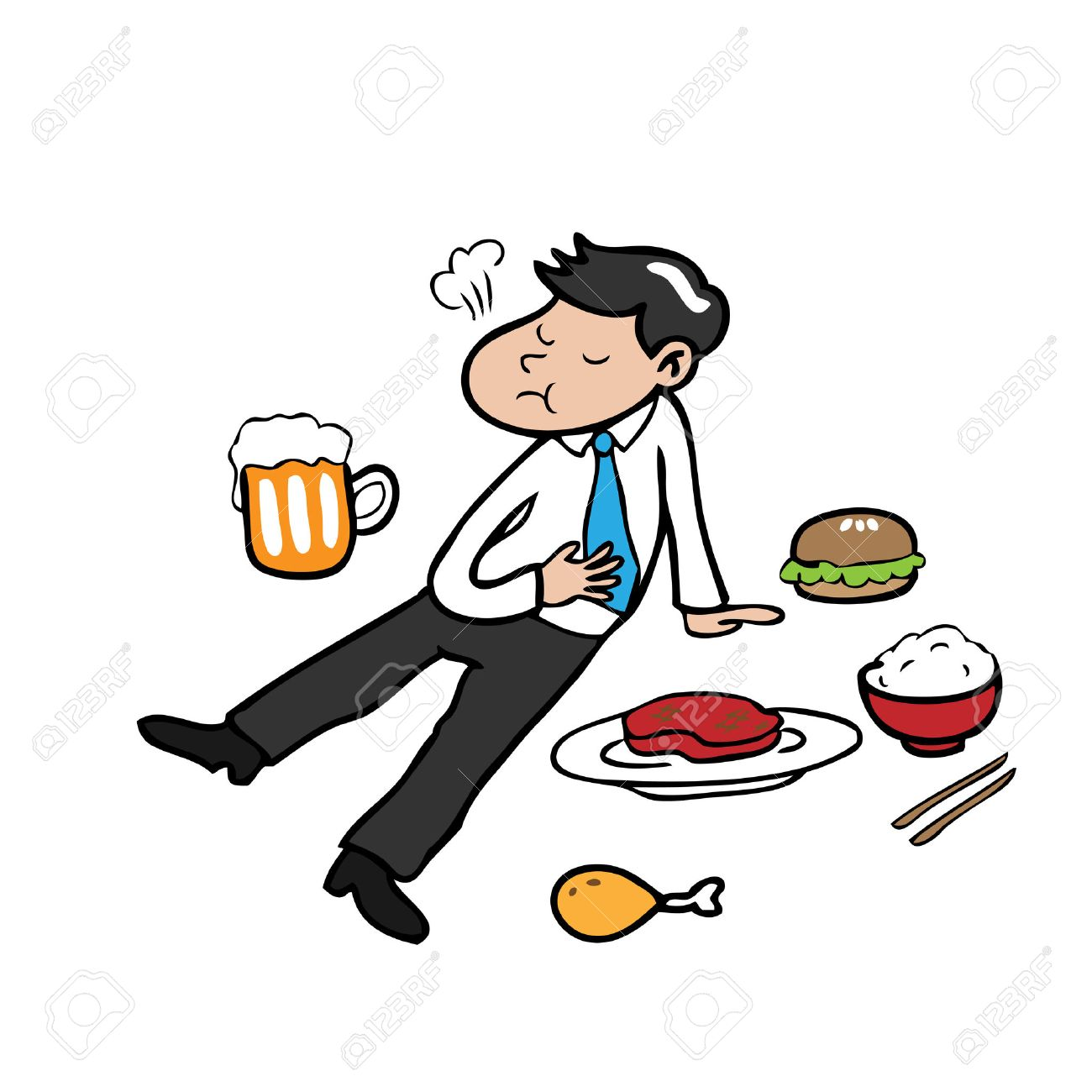 Man Eat Too Much Cartoon Character Vector Royalty Free Cliparts