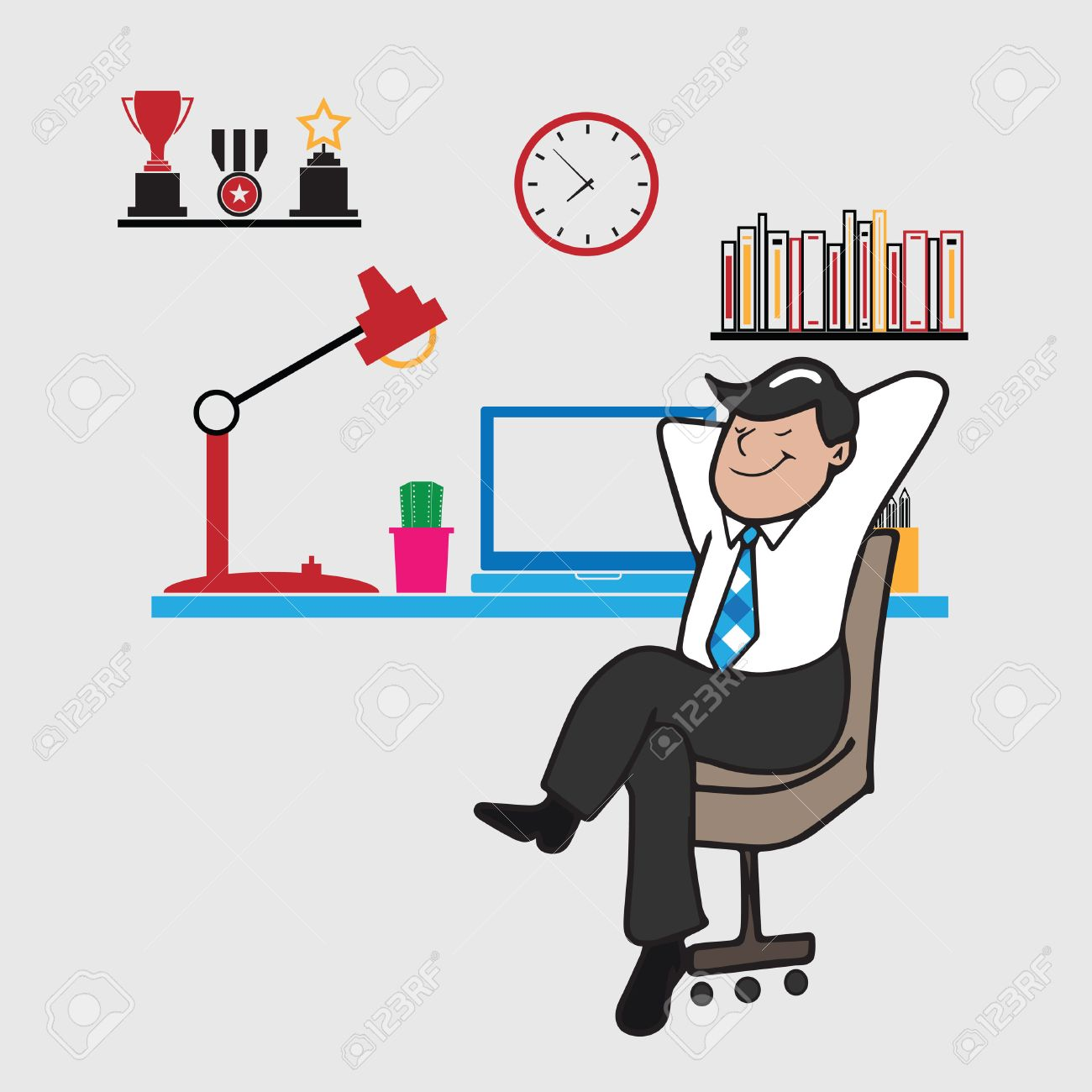 Man Sits Relaxing In Office Cartoon Vector Royalty Free Cliparts