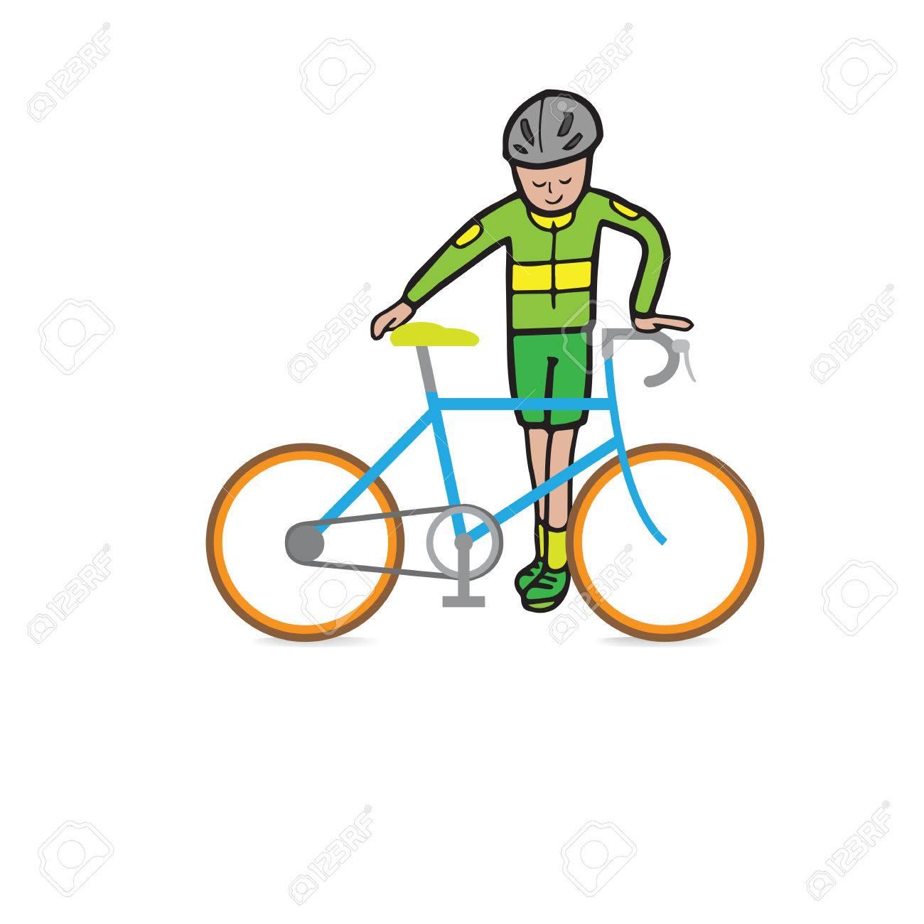 L Homme Et La Course Dessin Animé Vecteur Vélo