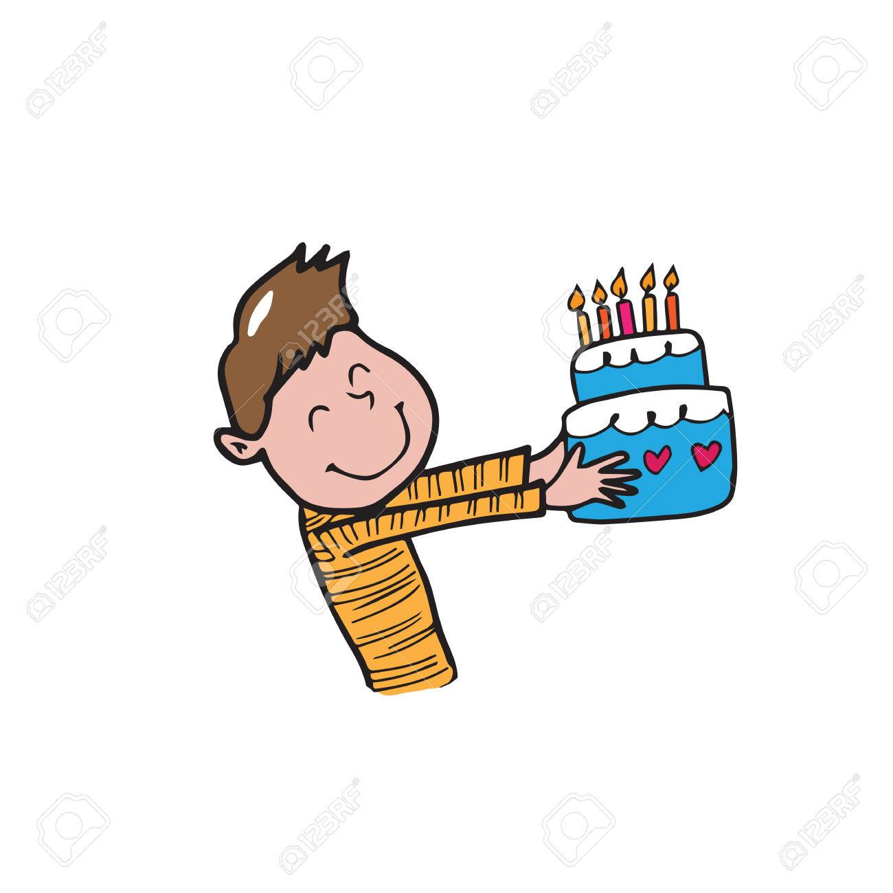 Boy With Birthday Cake Cartoon Vector Royalty Free Cliparts Vectors And Stock Illustration Image 42712615