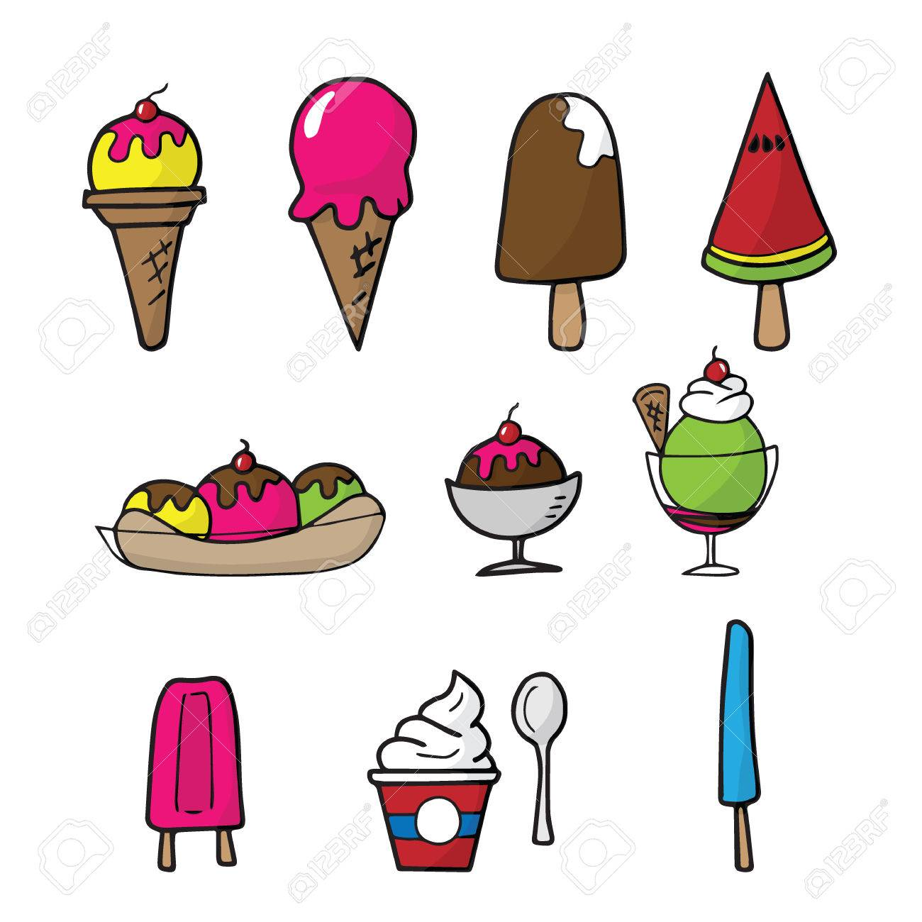 Ice Cream Cartoon Drawing Icons Set Royalty Free Cliparts Vectors