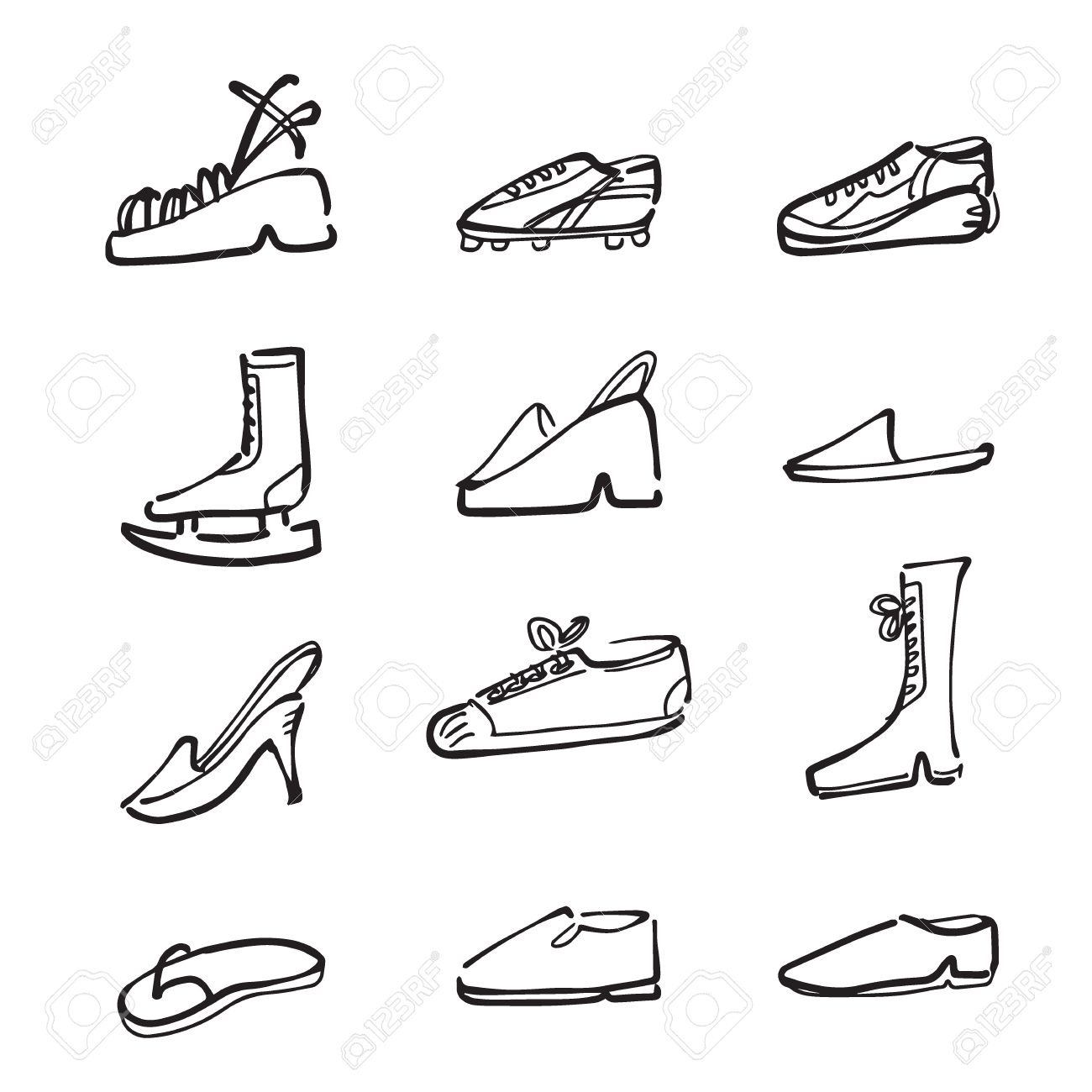 e72ddd758e54 Fashion And Sport Shoes Cartoon Drawing Icons Royalty Free Cliparts ...