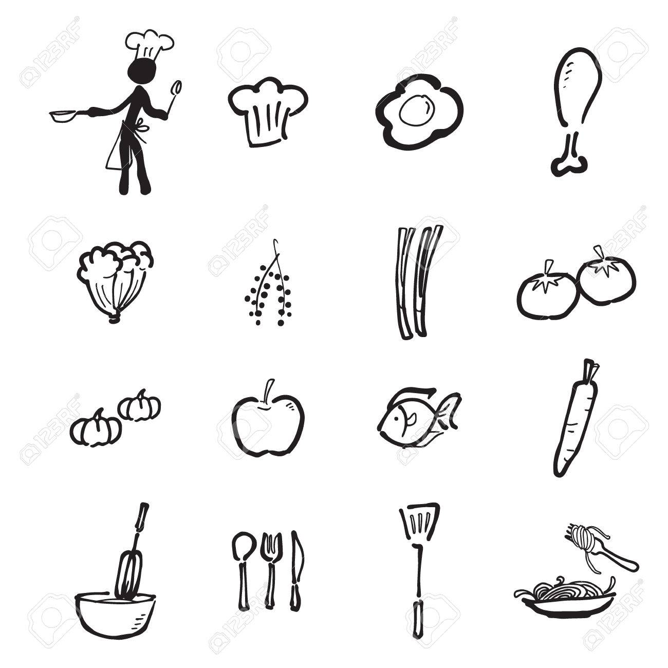 Chef Et Bande Dessinee De Cuisine Dessin Clip Art Libres De Droits