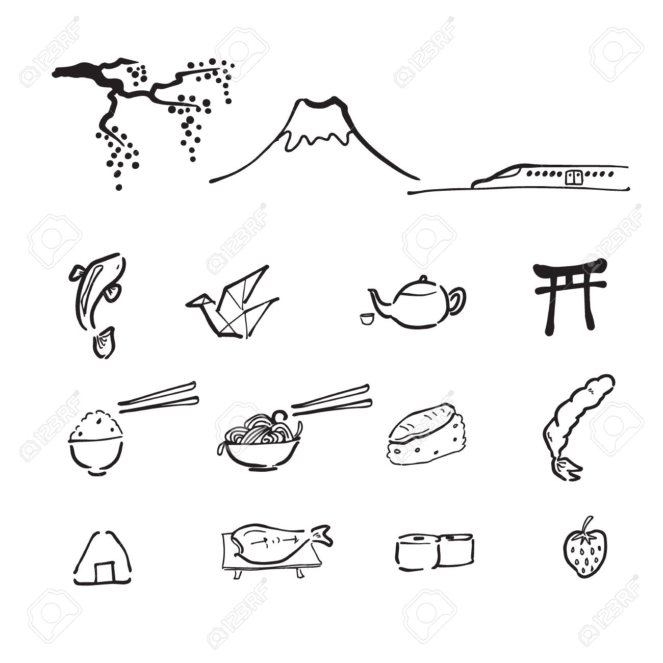 japan travel drawing doodle icons royalty free cliparts vectors