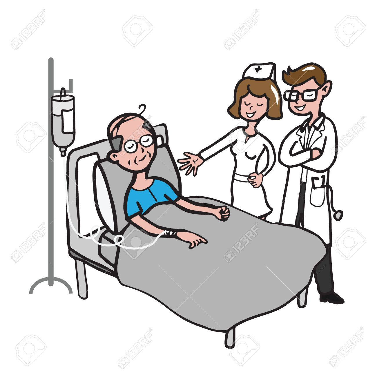 Doctor And Nurse Visit Old Man Patient Cartoon Drawing Royalty Free Cliparts Vectors And Stock Illustration Image 63377538