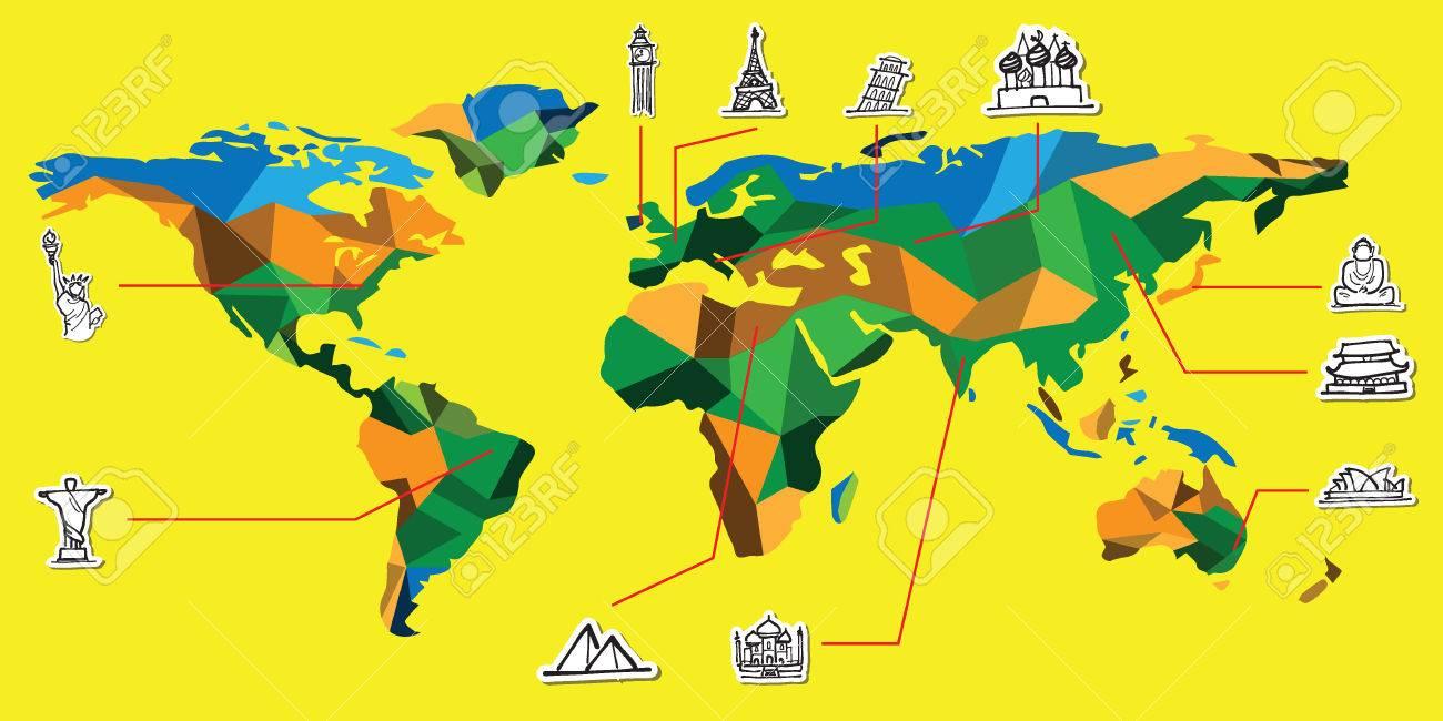 World Map And Attractive Landmark Cartoon Drawing Royalty Free