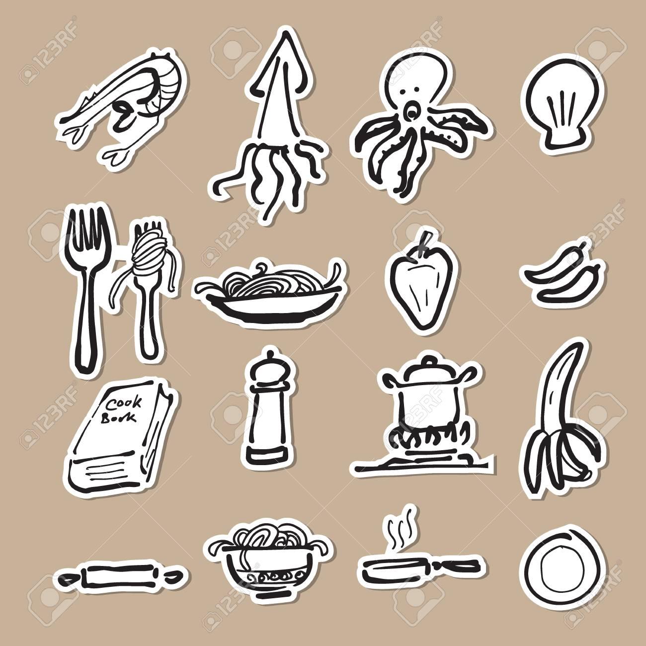 Essen Und Küche Cartoon-Zeichnung Symbole Lizenzfrei Nutzbare ...