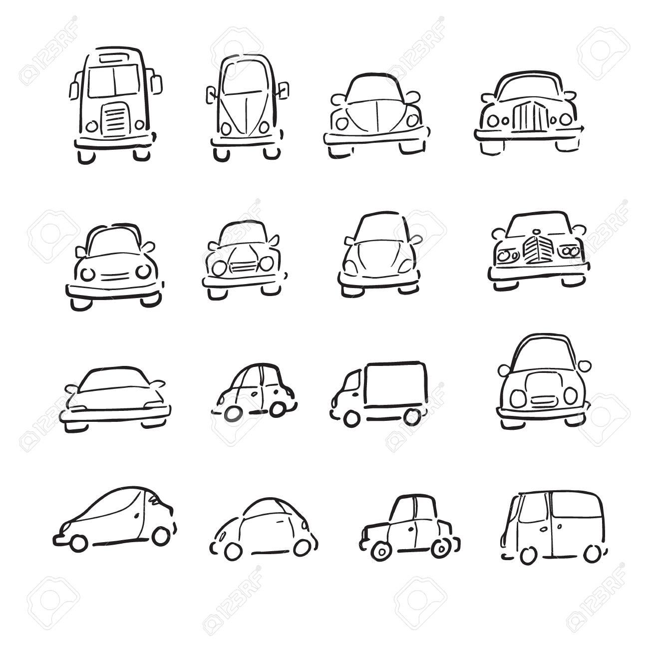 6889e16cd852a1 Cars trucks and vans cartoon drawing Stock Vector - 65998436