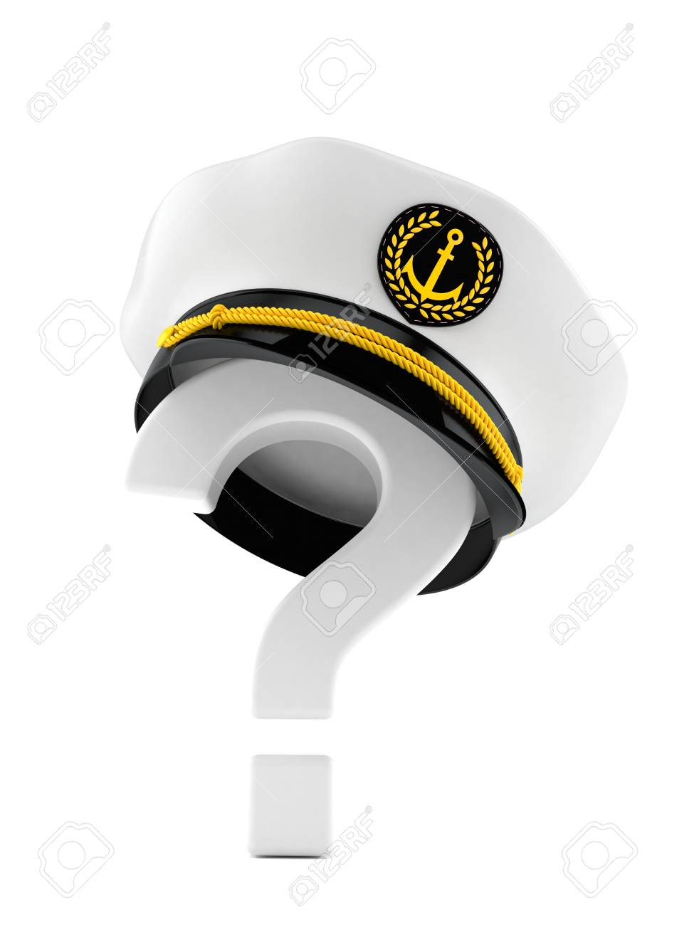 f153179ae8e Captain s hat with question mark isolated on white background Stock Photo -  83320440