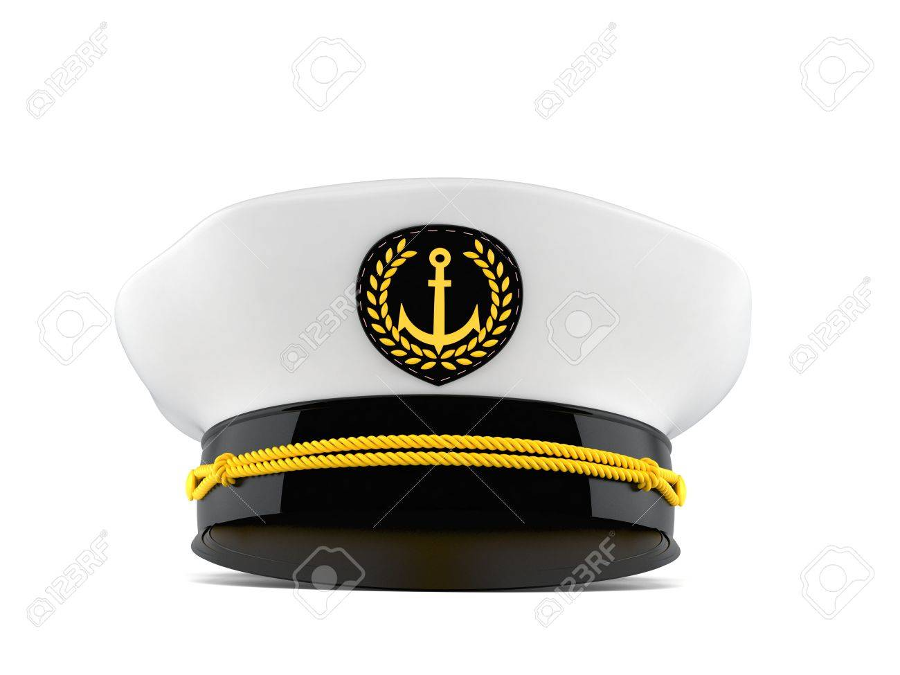 aaf4fec6dfe Captain s hat isolated on white background Stock Photo - 83704463