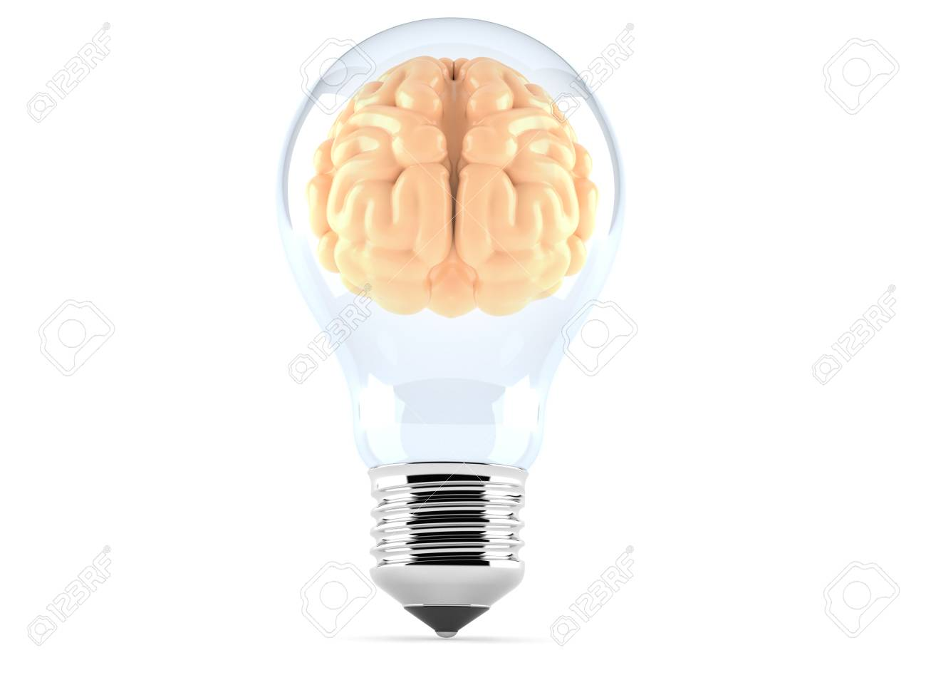 Light Bulb With Brain Isolated On White Background Stock Photo ...