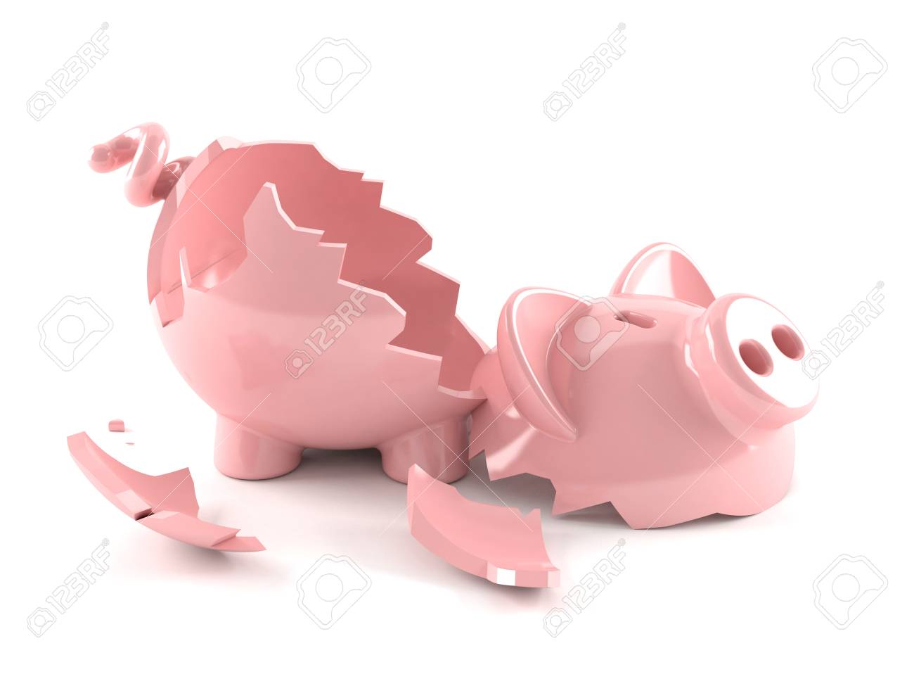 Broken Piggy Bank Isolated On White Background Stock Photo ...