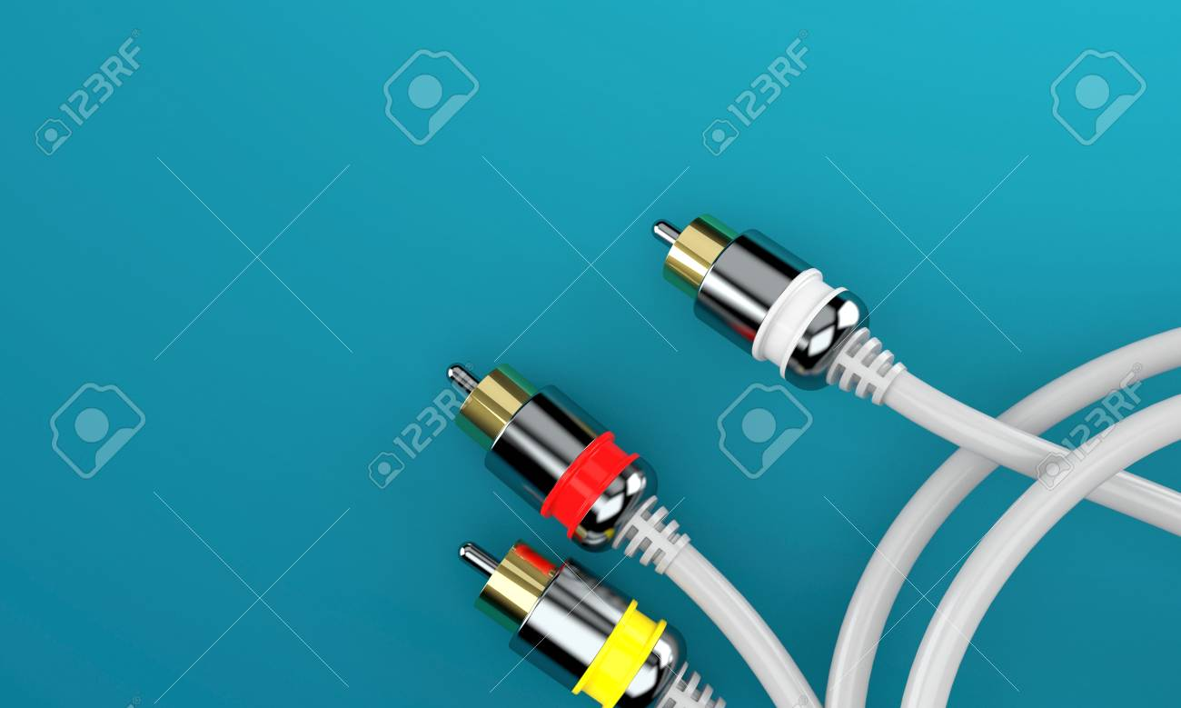 RCA Connector On Blue Background Stock Photo, Picture And Royalty ...
