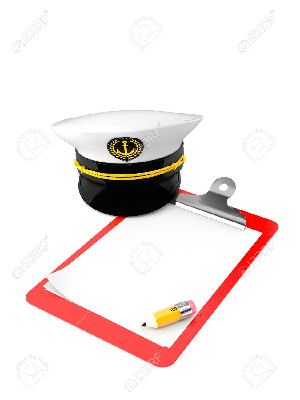 f10baebf8bb Captain s hat with clipboard isolated on white background Stock Photo -  94601394