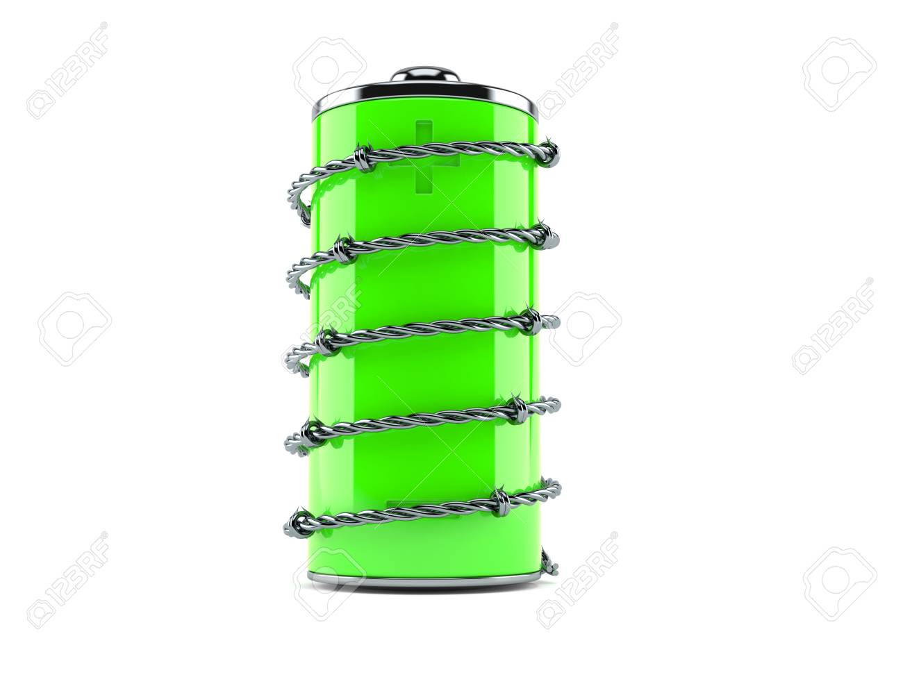 Battery With Barbed Wire Isolated On White Background Stock Photo ...