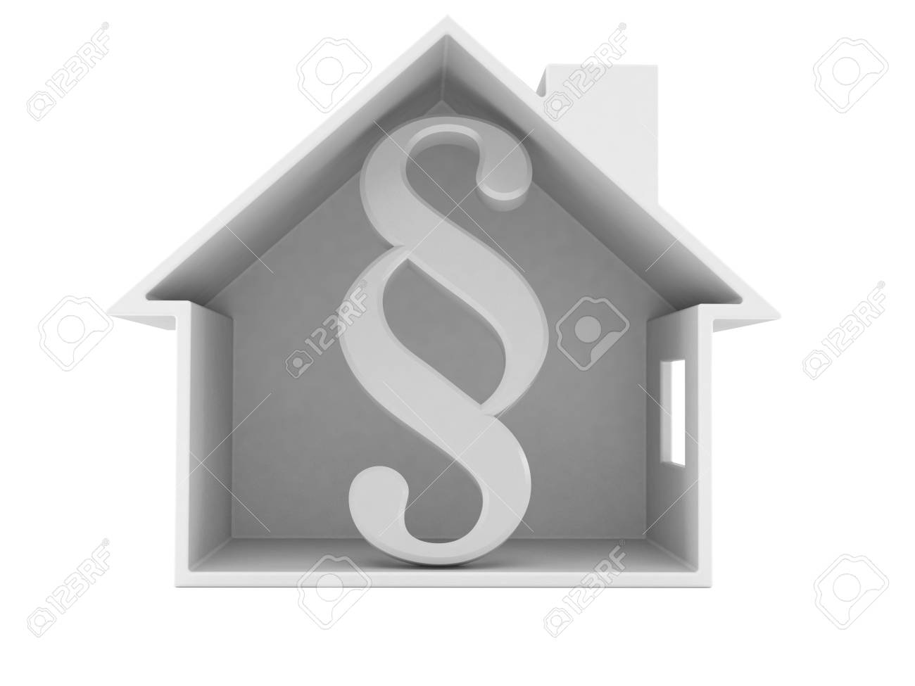 Paragraph Symbol Inside House Cross Section Isolated On White